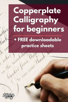 Copperplate Calligraphy for beginners - Lettering Daily This is a beginners guide to Copperplate calligraphy. Learn the fundamentals and start practicing with the FREE copperplate calligraphy practice sheets. Copperplate Calligraphy, Calligraphy Handwriting, Learn Calligraphy, Penmanship, Islamic Calligraphy, Beautiful Calligraphy, Calligraphy Writing, Calligraphy Doodles, Sign Writing