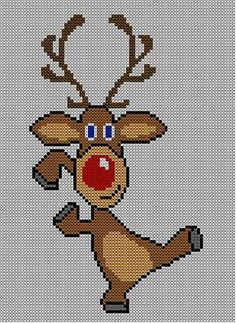 Diy Crafts - -Ravelry: Christmas Rudolph Reindeer Jumper / Sweater Knitting Pattern 17 pattern by Blonde Moments Xmas Cross Stitch, Cross Stitch Charts, Cross Stitch Designs, Cross Stitching, Cross Stitch Embroidery, Cross Stitch Patterns, Christmas Embroidery, Christmas Knitting, Christmas Cross