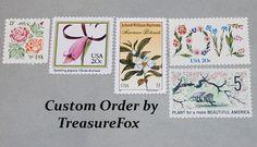 Reserved Custom Order for Kylie .. Unused Vintage US Postage Stamps by TreasureFox on Etsy