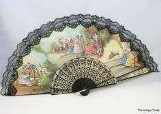 vintage silk hand fans | Vintage Spanish printed silk and black lace Ladies hand fan