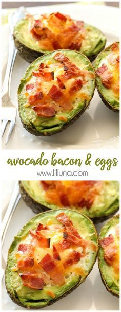 We love these Avocado Bacon and Eggs - they're so easy too! {We love these Avocado Bacon and Eggs - they're so easy too! Egg Recipes, Brunch Recipes, Breakfast Recipes, Cooking Recipes, Candy Recipes, Breakfast Ideas, Dessert Recipes, Bacon Recipes, Recipies