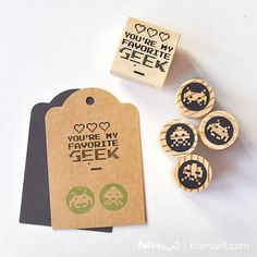 Geeky Wedding Stamp set. Space invaders stamps. Gamer gifts. Original gift for geeks. Geeky gifts. Scrapbook set. Gamer party. Gamer decor.