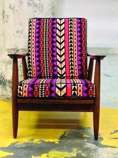 ≥ Vintage Fauteuil met Design Print - Fauteuils - Marktplaats.nl