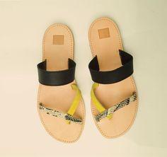 SANDALS :: Most chic, 'Agora lizard & black & krocus' sandals - Most Chic