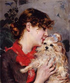Giovanni Boldini (Italian 1842–1931) [Portraiture] The actress Rejane and her dog, 1885.