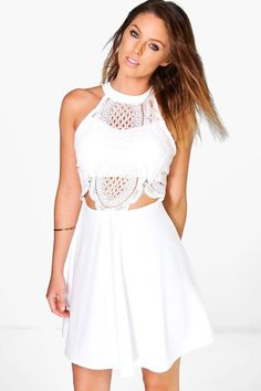 boohoo Jenny Crochet Top Skater Dress
