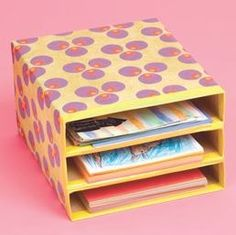 Upcycle cereal boxes. Tapped and wrapped together with contact paper, these make great sort trays for kids stuff or adults alike. If you need to put in heavier items just add additional cut cereal boxes sections or light card board like from shoe boxes before wrapping.