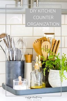 A well organized kitchen is such a beautiful sight to behold. Turn your kitchen counter organization into a display that is not only functional but also stylin'! Painting Kitchen Cabinets, Kitchen Paint, Home Decor Kitchen, Home Kitchens, Kitchen Ideas, Kitchen Decorations, Decorating Kitchen Counters, Kitchen Staging, Kitchen Countertop Decor