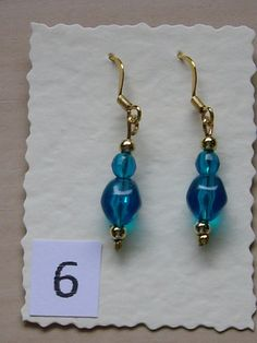 Gold plated copper ear wires with small gold beads and deep turquoise glass beads