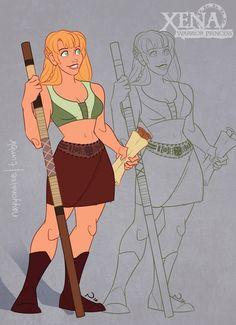 XENA: WARRIOR PRINCESS Disney Style Art