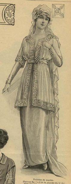 April 1914 Wedding gown Bridal Fashion Illustration
