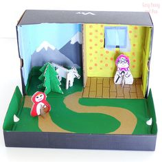 Little Red Riding Hood Finger Puppets - Easy Peasy and Fun Shoe Box Diorama, Diorama Kids, Cute Crafts, Easy Crafts, Shoe Box Art, Cardboard Box Crafts, Shoebox Crafts, Art For Kids, Crafts For Kids