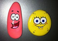 Spongebob and Patrick BFF Hand Painted Rock Magnets by RockRobyn