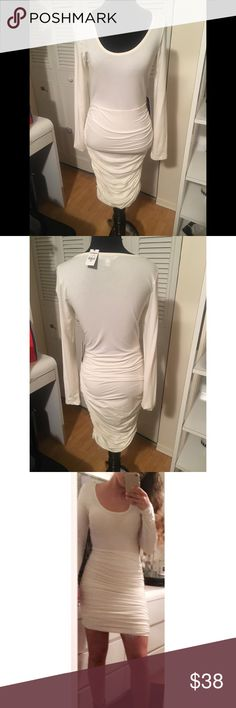 Cream Dress from Express This cream dress from express could be worn casual or dressy! Size small, very stretchy, brand new wig tags! Never worn besides to try on for picture! Express Dresses Long Sleeve