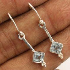 Wholesale Store Natural BLUE TOPAZ Gemstones Earrings 925 Solid Sterling Silver #Unbranded #DropDangle