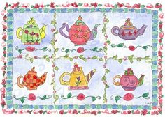 On Sale ~ A cheerful and colorful illustration of whimsical teapots illustrated in pen and ink then painted in watercolor.   The teapots were painted on 90lb. watercolor paper with Windsor Newton wate