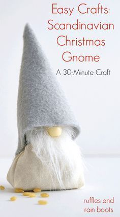 This holiday season, bring this adorable DIY Scandinavian Christmas Gnome with rice body into your home. It's a quick, 30-minute craft and is loved by all! via @momtoelise