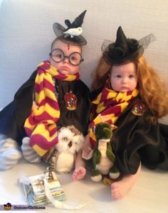 my 7 month old twins are wearing their first halloween costumes i wanted to do a twin themed costume and after a lot of thought i decided to go with harry