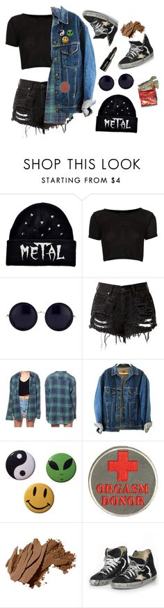"""""""Metal"""" by elvish-bae ❤ liked on Polyvore featuring Topshop, The Row, Bobbi Brown Cosmetics, Golden Goose and Gorgeous Cosmetics"""