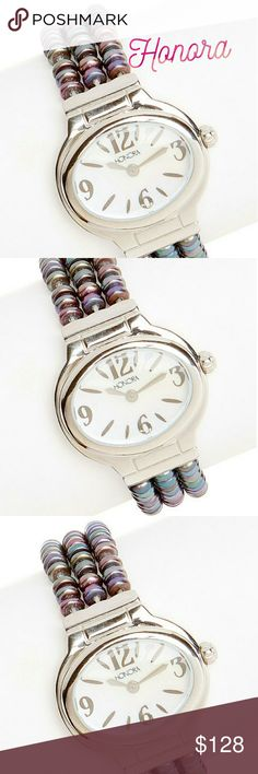 🆕HONORA WATCH🆕 on HOLD till Thursday Pearl and stainless steel stretch watch multiple colors elegance and comfort in this shimmering watch. It's stretchy bracelet is composed entirely of freshwater pearls for a sophisticated and comfortable all day  Includes watch box Case 1.25w ? 1.5 like Bracelet 0.75w ? 7 long Stretch  Case is stainless steel  Face mother of pearl  Analog display  Cultured freshwater pearls  Push pull crown Honora Accessories Watches
