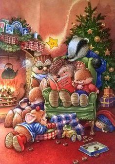 Christmas Scenes, Christmas Animals, Christmas Art, Xmas, Christmas Card Pictures, Christmas Pictures, Christmas Illustration, Cute Illustration, Beatrix Potter