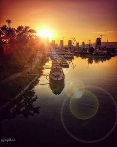 Sunset over Port of Bratislava, Slovakia - Beautiful places for vacation and trip. Bratislava Slovakia, Photo S, Travel Photography, Beautiful Places, Castle, Europe, Celestial, Vacation, City