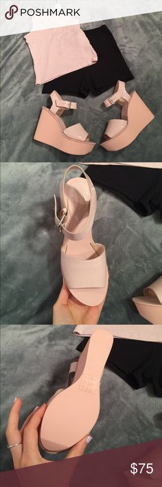 Topshop pale pink platform wedge sandals Brand new with tags Topshop Shoes Platforms