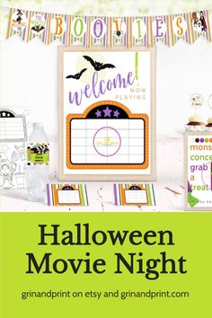 "If you are staying in this Halloween and want to make it fun for everyone in the family then our Halloween ""Boovie Night"" Printables will get you started. These Halloween Party Supplies include the Halloween Decorations you will need to host a Spooky Movie Night Party. Need Halloween Party Ideas? This Party Pack also includes a Movie Bingo Game and Movie Ballots to vote for your favorite movie. Easy to Print, set up, and even play! #halloween #halloweenbingo #halloweenfun #party #kids…"