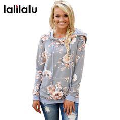 2017 Autumn Fashion Womens Hoodies Long Sleeve Sweatshirt Women Hooded Floral Print Gray Ladies Pullover Kwaii Female Tops #Affiliate