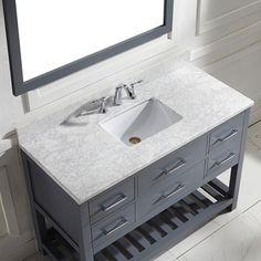 Caroline Estate 48-inch Grey Square Single Sink Italian White Carrara Marble Vanity Set - Overstock™ Shopping - Great Deals on VIRTU Bathroom Vanities