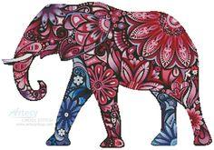 Stylized Elephant - Cross Stitch Chart - Click Image to Close