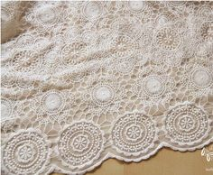 1 yard Lace Fabric Tulle Beige Ivory Cotton Floral Circle