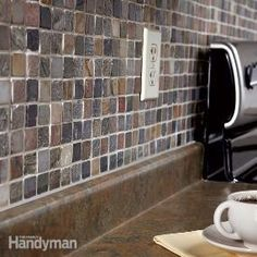 Tiling a backsplash above the counter is one of the easiest ways to upgrade an old, tired kitchen on a tight budget. You can choose from the vast array of handsome ceramic tiles available, including the easy-to-install one we show here—mosaic tiles.