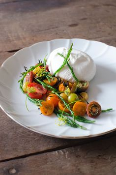 Heirloom tomatoes, samphire & burrata