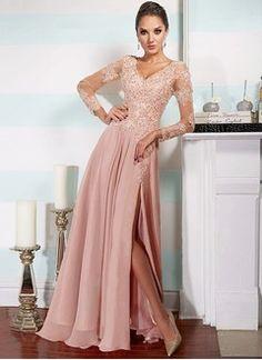 A-Linie/Princess-Linie V-Ausschnitt Bodenlang Chiffon Abendkleid mit Spitze Perlenstickerei (0175090216)