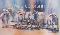 Cows, Brahman, Bulls, cattle, Watercolor, Print, 8.5 x 12.5, Home Decor, colorful  jewel tones