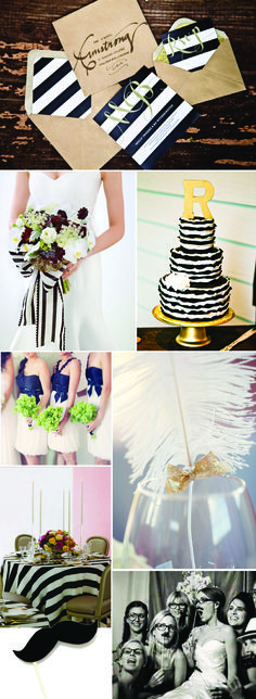 Wedding Decor Inspiration: Black White and Gold ( use navy, grey, white & green)