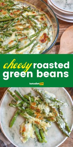 Oven Roasted Green Beans coated with creamy garlic sauce and topped with Parmesan and Mozzarella then perfectly roasted until golden brown – the BEST side dish!