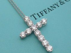 TIFFANY & CO. DIAMOND CROSS NECKLACE PLATINUM LARGE MODEL 1.71 TCW