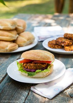 African-Inspired Sweet Potato and Black Bean Burgers - #vegan #low-fat #gluten-free
