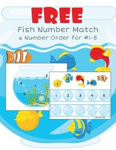 In this activity students will match fish with the numbers to the same numbers on a page with a fish bowl. Then students will place the fish on bubble in order from A die and spinner are also provided to give more options. Please see these other Rainbow Fish Activities, Ocean Activities, Alphabet Activities, Preschool Activities, Printable Shapes, Free Printable, Numbers Kindergarten, Kindergarten Worksheets, Ordering Numbers