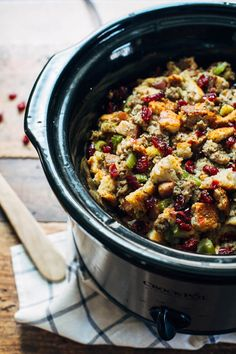 Slow Cooker Pear and Sausae Stuffing -- one of 12 ways to rock your crock-pot this Thanksgiving! | gimmesomeoven.com