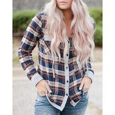 $22.25 Stylish Hooded Long Sleeve Gingham Single-Breasted Women's Blouse