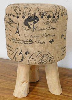 DuNord Design Hocker Sitzhocker Fusshocker PARIS Jute Bezug und Teak Massiv Holz Teakholz