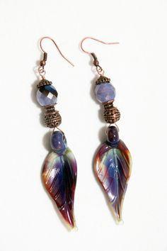 Silver-glass lampwork leaf earrings. purple, red, green by Dinglefritz, $24.00 USD