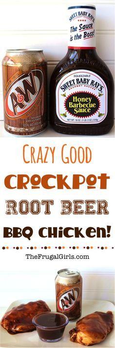 Crazy good crock pot root beer bbq chicken