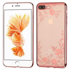 iPhone 7 Plus Phone Case - MYBAT Rose Gold Plating/Secret Garden Diamante Premium Candy Skin Cover (with Package) | IP7PLUSCASKCHDI252WP