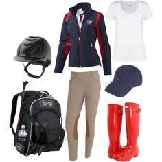 """Classy Equestrian- Red, White, and Blue"" by mmadisyne on Polyvore"