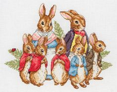 Anchor Peter Rabbit Family (Beatrix Potter) - Cross Stitch Kit. Complete kit contains 16 count White Aida, pre-sorted Anchor floss, needle, chart and full instr
