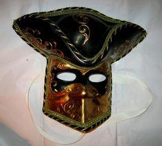 Casanova Pirate Venetian Black Gold paper mache Mask Italy Fancy That! www.bonanza.com
